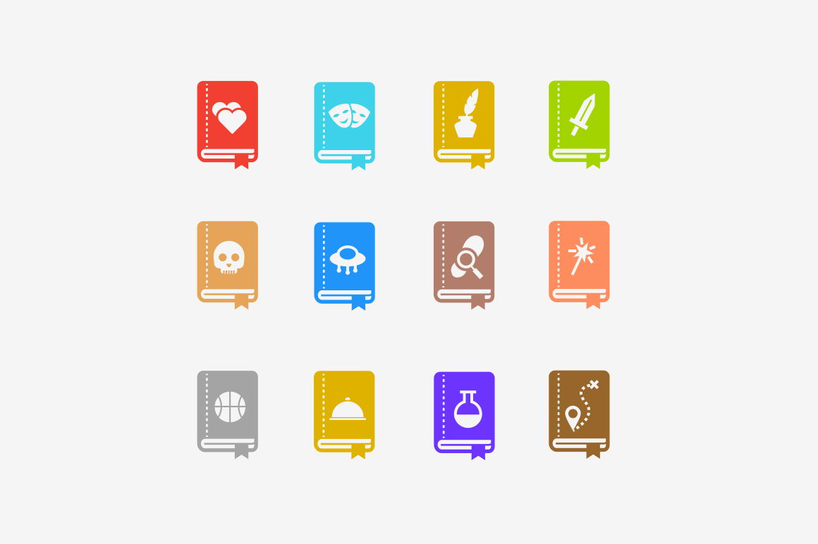 12 Book Genre Icons