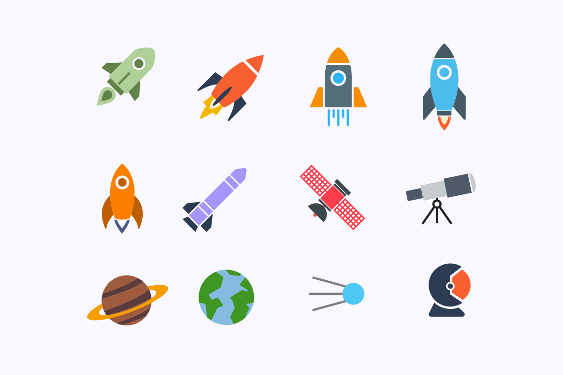 12 Rocket Space Icons