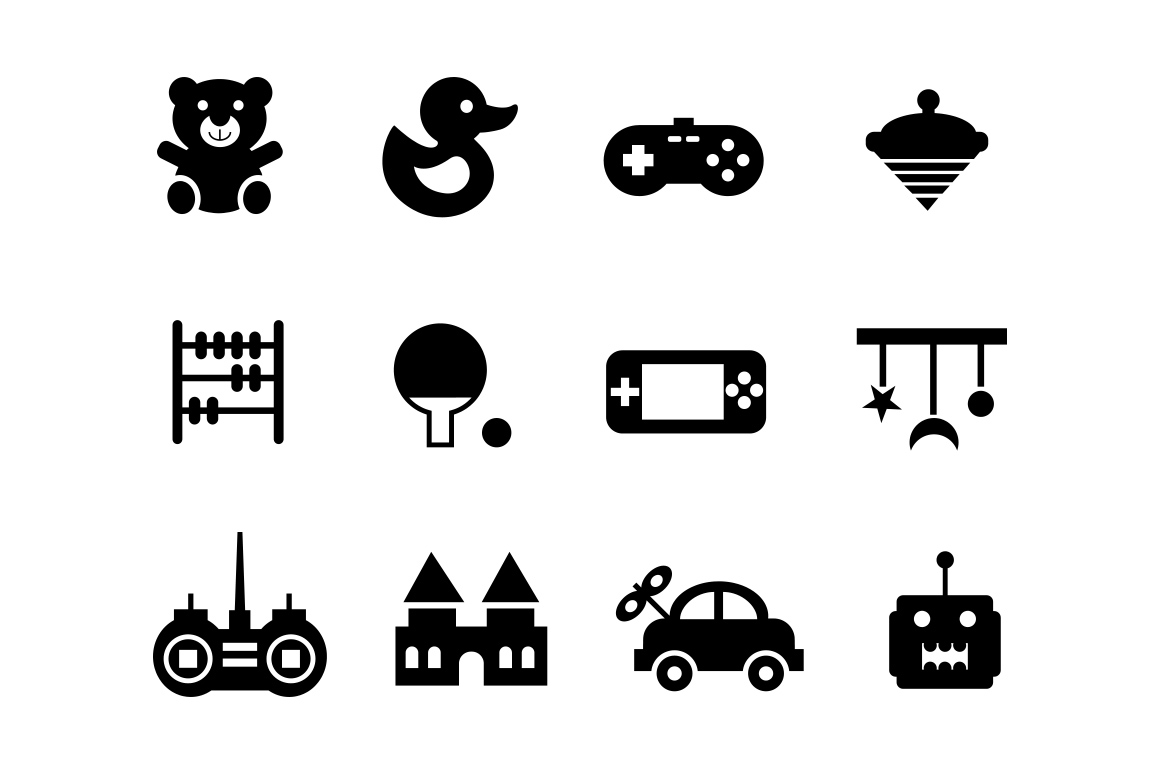 12 Toy and Game Icons