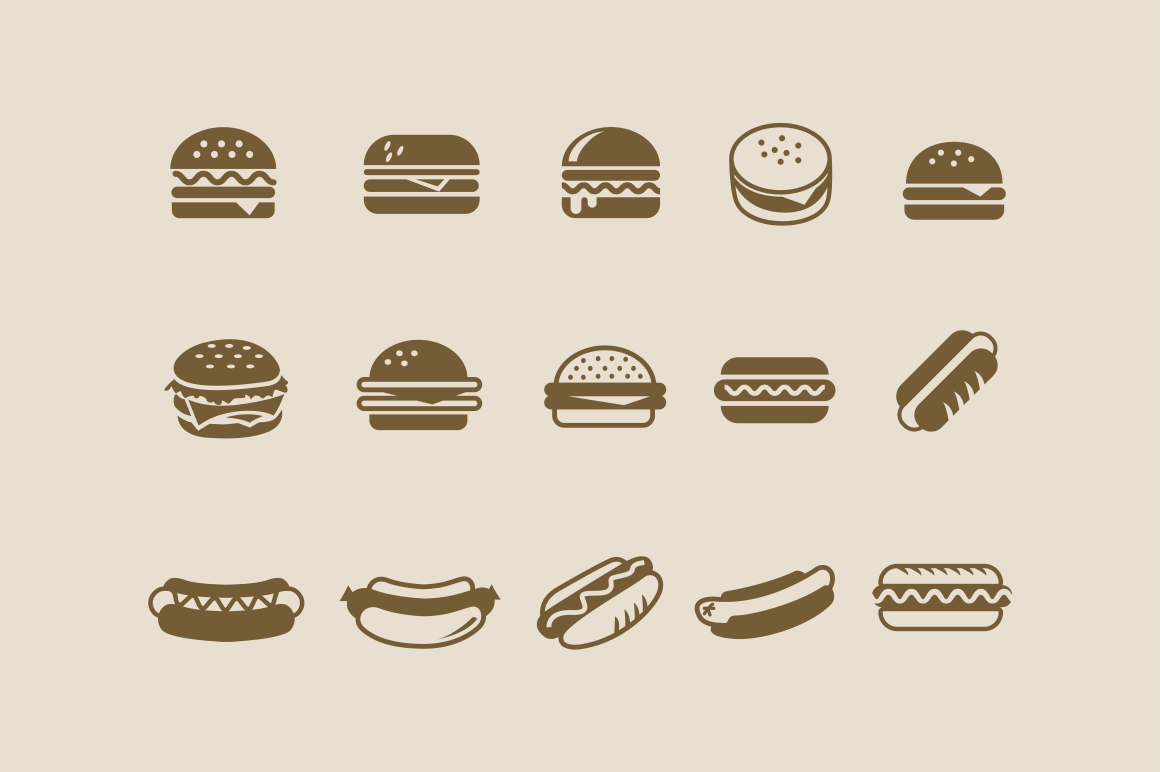 15 Burger Hot Dog Icons