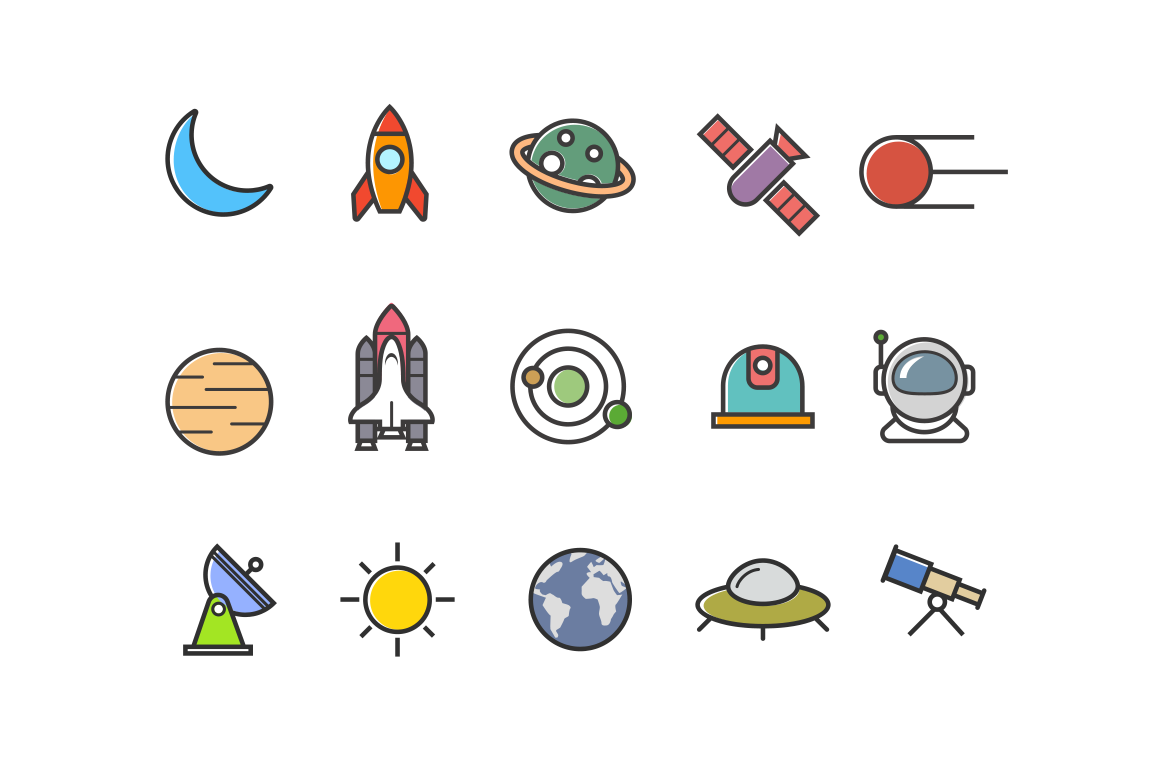 15 Colorful Space Icons