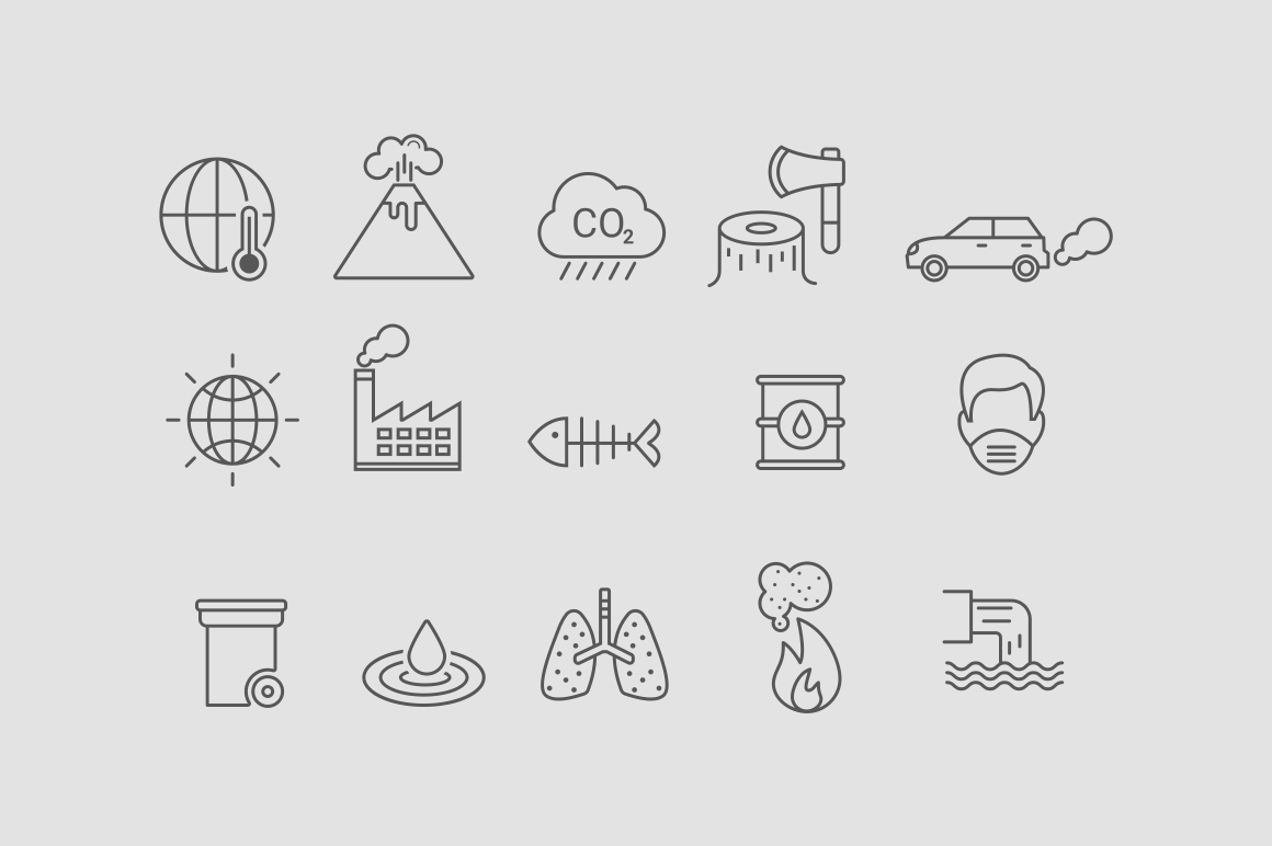 15 Global Warming & Pollution Icons