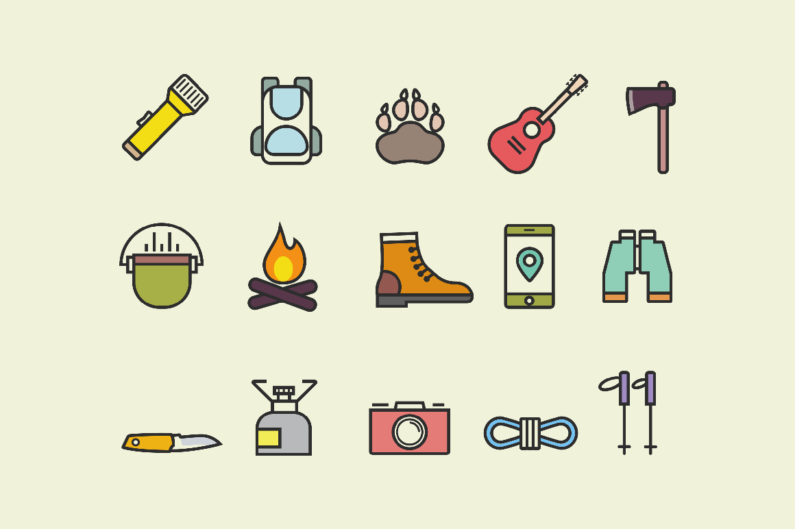 15 Hiking and Walking Icons