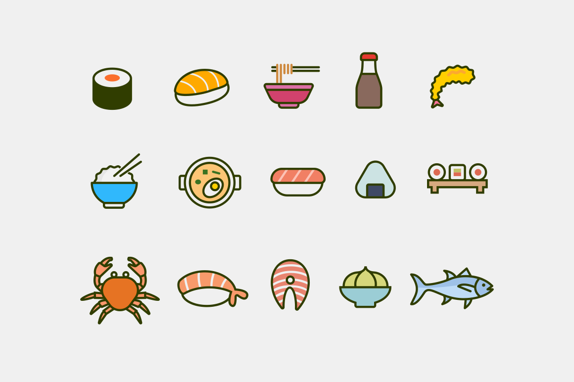 15 Japanese Food Icons