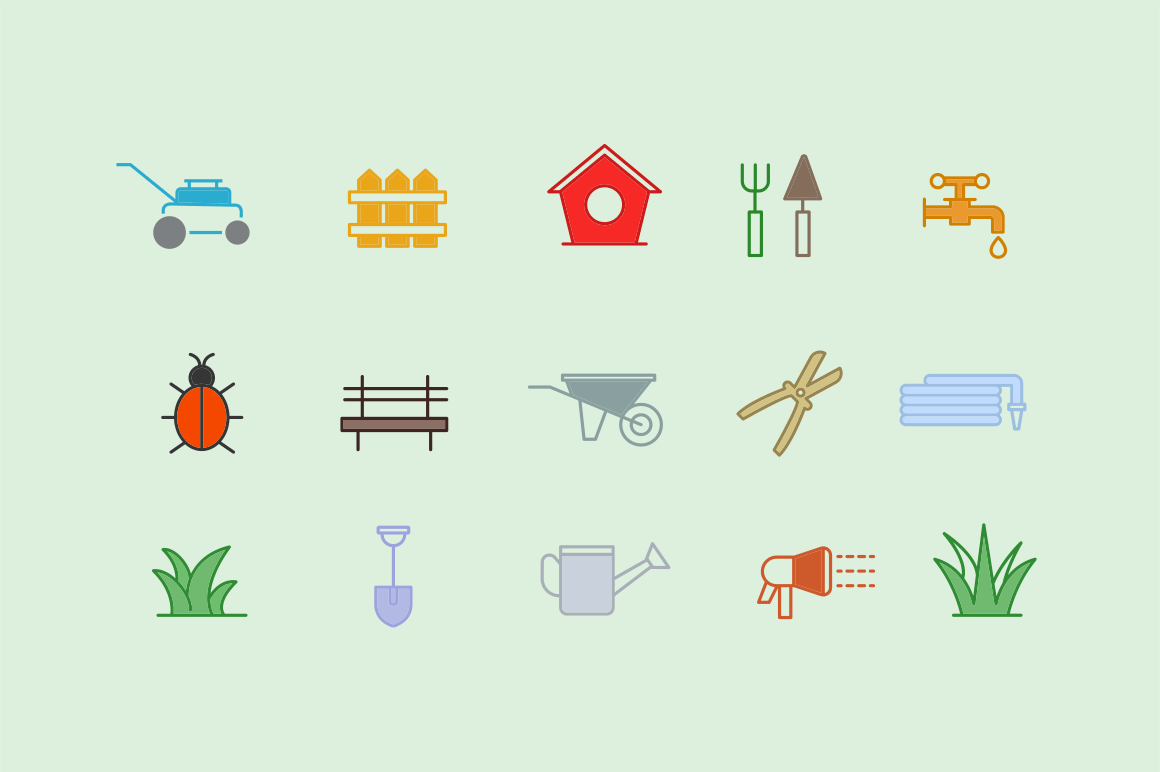 15 Lawn & Grass Icons