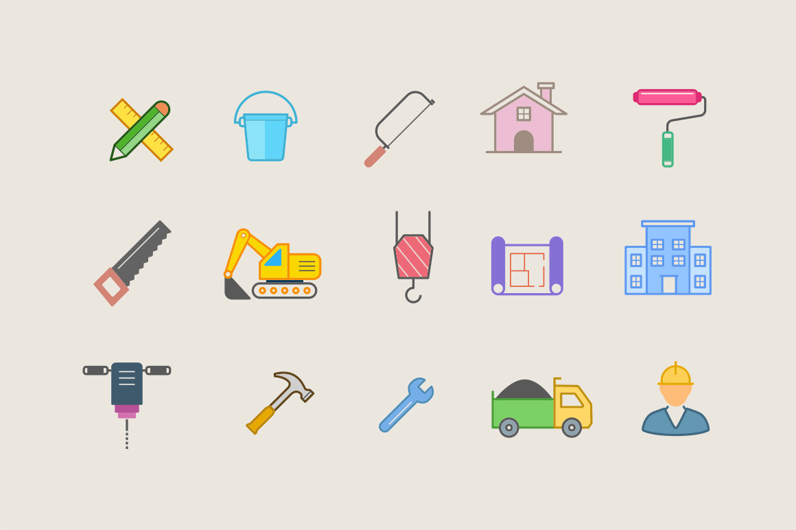 15 Modern Construction Icons