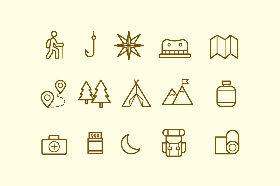 15 Mountain Trek Icons