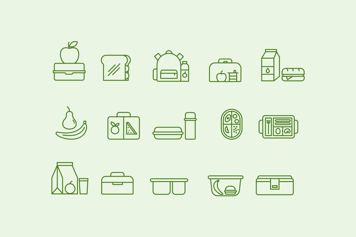 15 School Lunchbox Icons