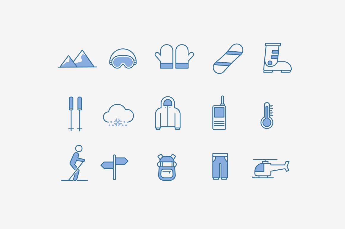 15 Skiing Snowboarding Icons