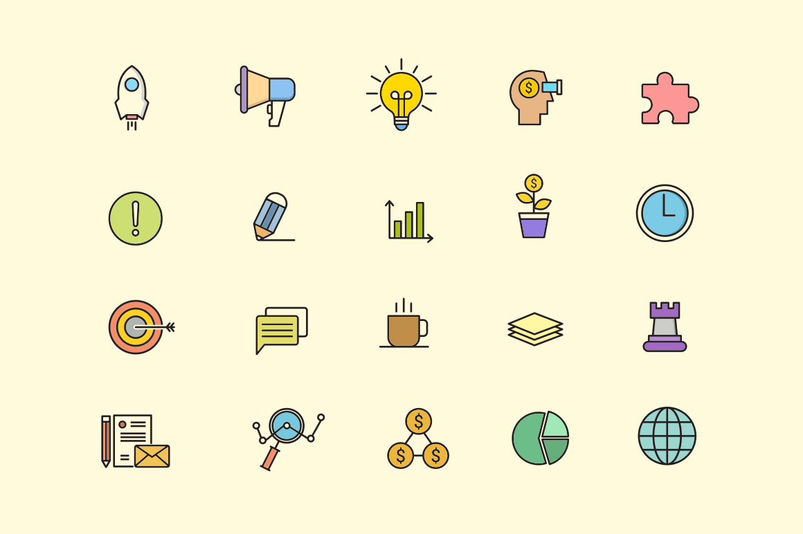 20 Startup Pitch Icons