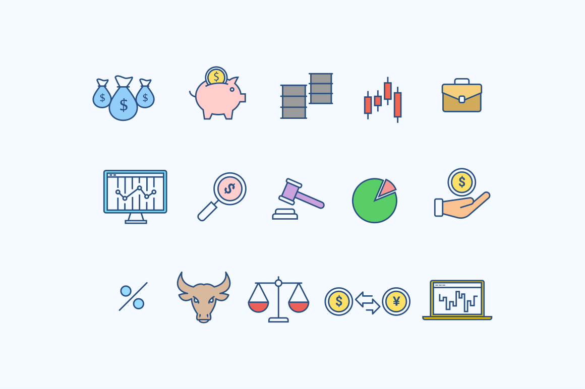 15 Stock Market Trading Icons