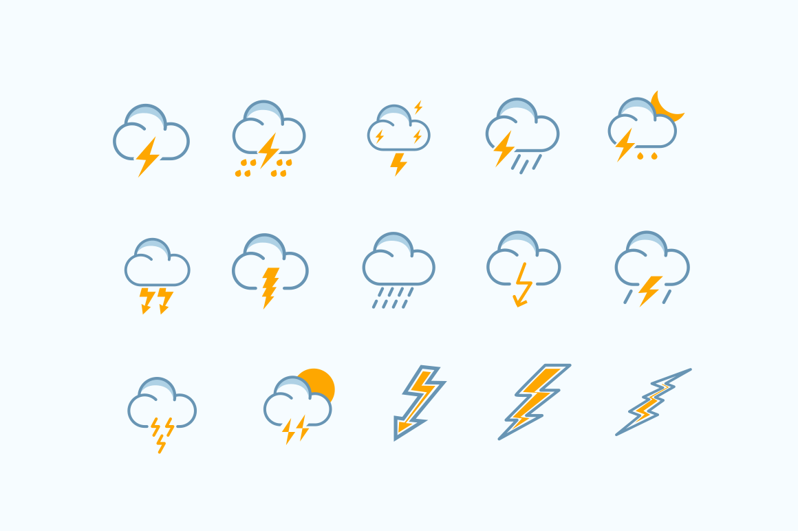 15 Storm Thunder Lightning Icons