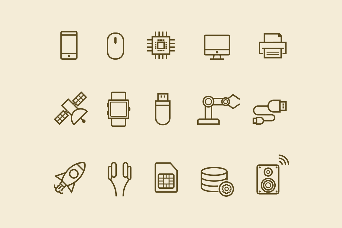 15 Thin Line Technology Icons