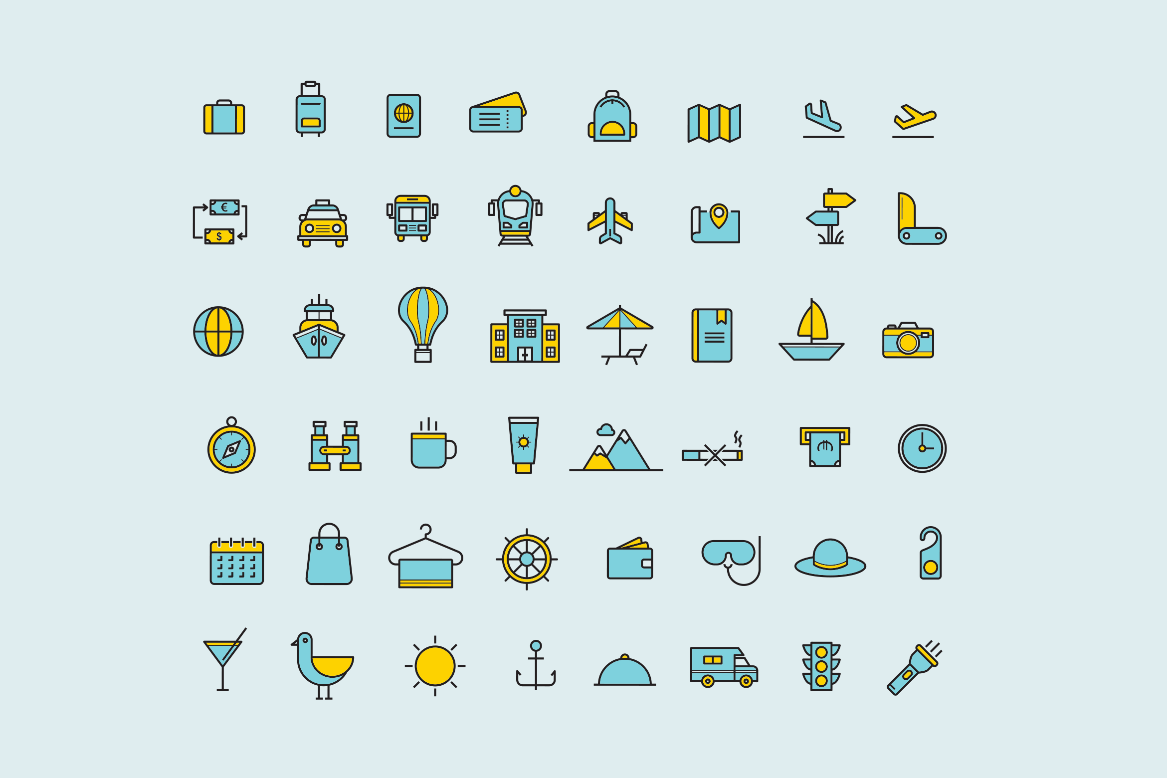 15 Thin Line Travel Icons