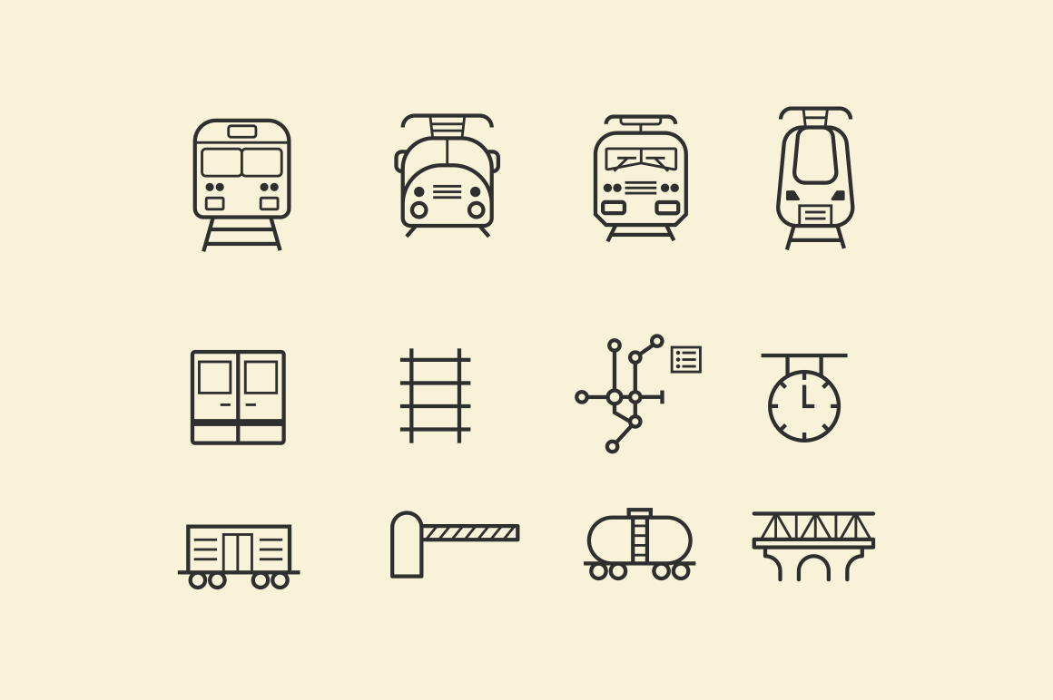 15 Train and Railway Icons