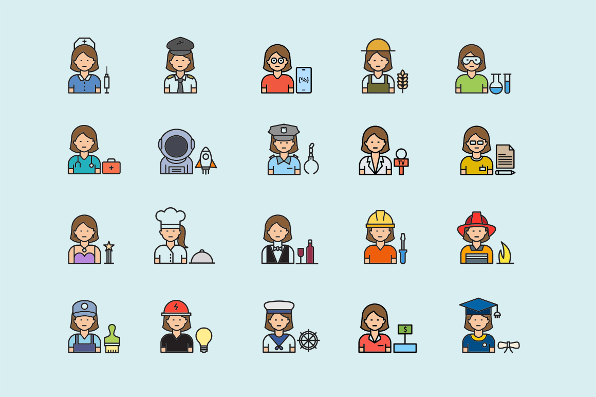 20 Woman Profession Icons