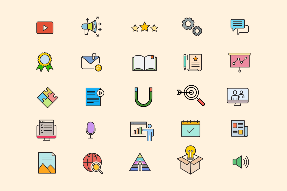 25 Content Marketing Icons