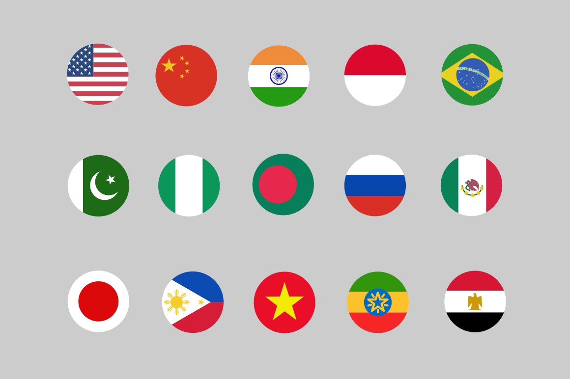 30 Country Flag Icons