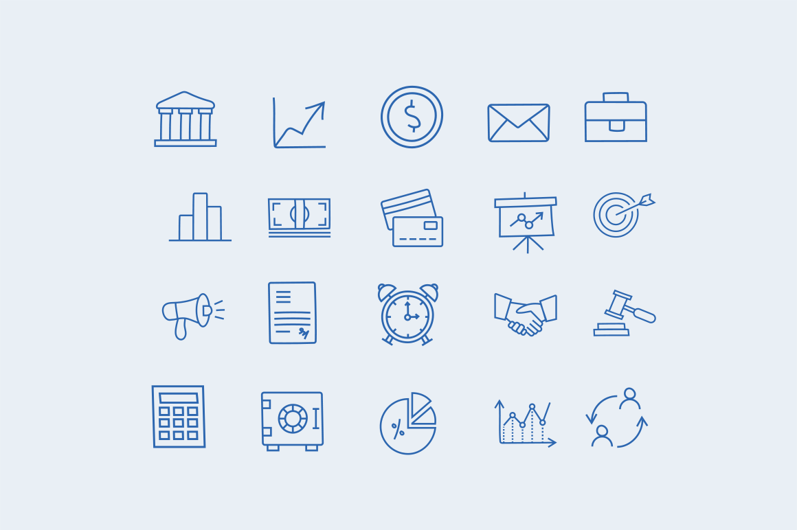 30 Finance Doodle Icons