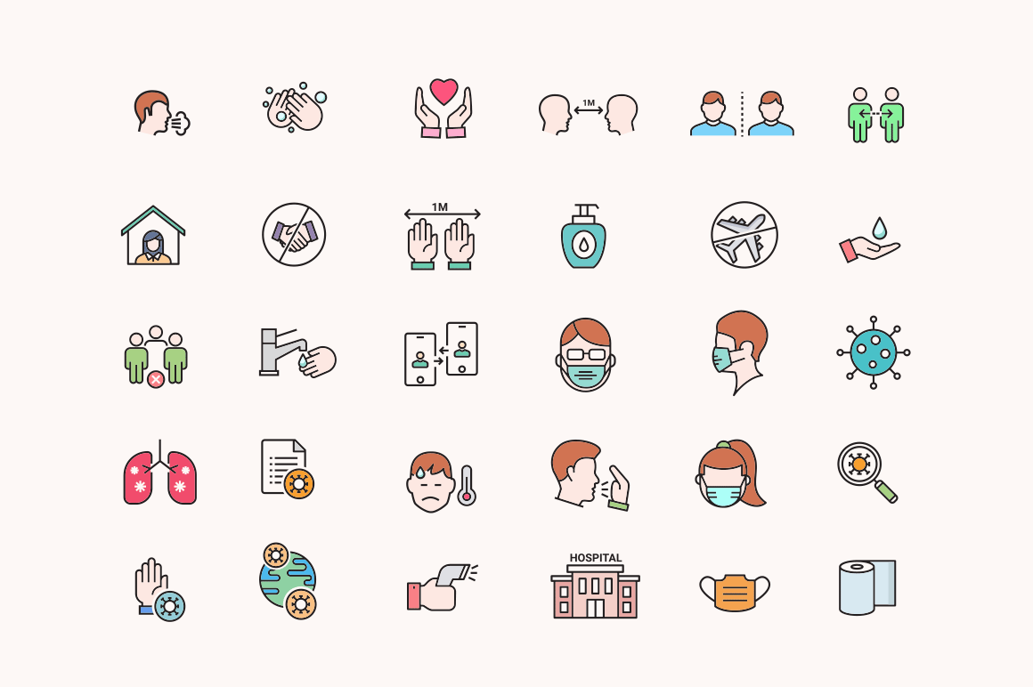 45 Social Distancing & Mask Icons