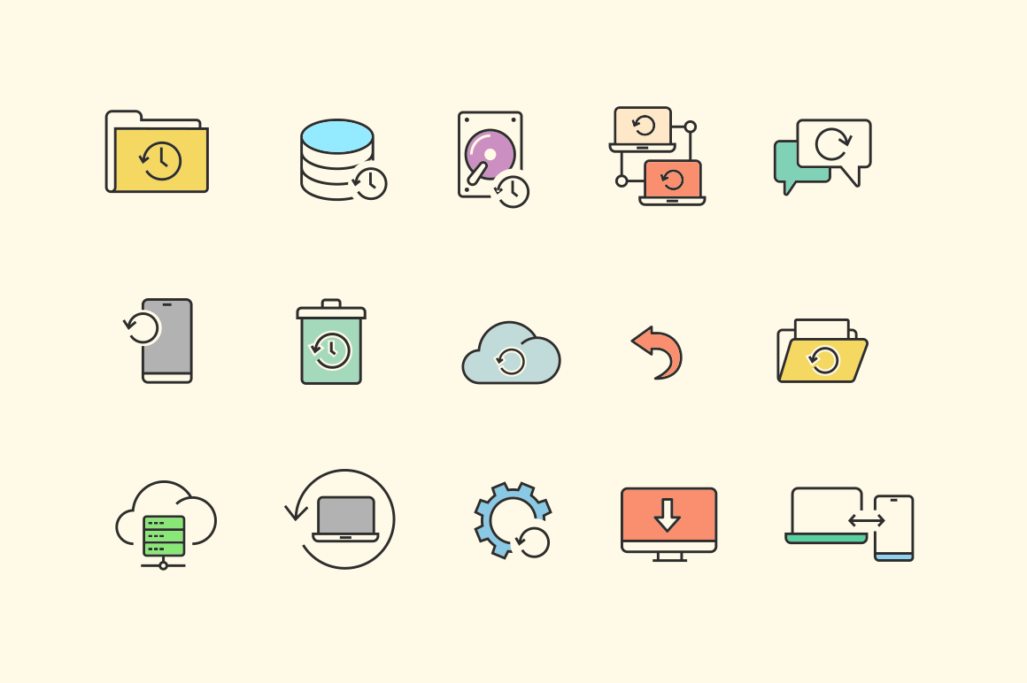 15 Backup & Restore Icons