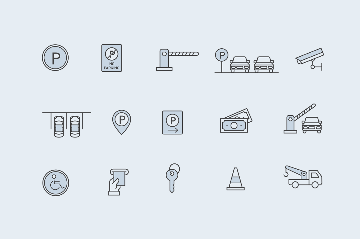 15 Parking Lot Icons