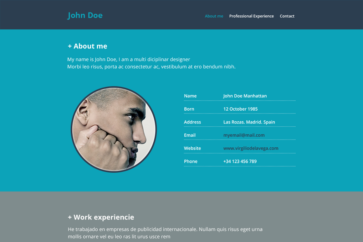 resume website psd mockup